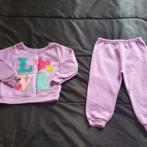 girl 18mos, sweatsuit purple